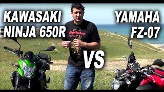 yamaha fz 07 mt 07 vs kawasaki ninja 650r er 6n and review