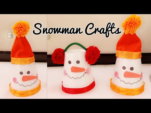 DIY Snowman/Snowman Making from Disposal Cups/Snowman Crafts for Kids/Christmas Decoration Ideas