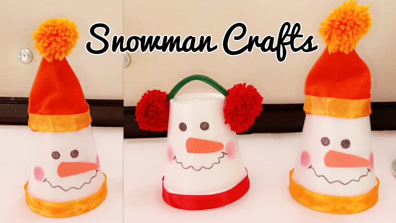 Diy Snowman Snowman Making From Disposal Cups Snowman Crafts For Kids Christmas Decoration Ideas
