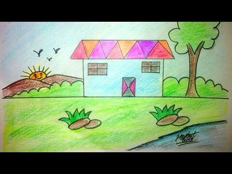 Landscape for kids very easy drawing
