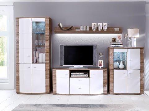 sunday-wohnwand-&-sideboard-in-hochglanz-weiß-und-eiche-trüffel
