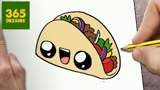 COMMENT DESSINER TACO KAWAII ÉTAPE PAR ÉTAPE – Dessins kawaii facile