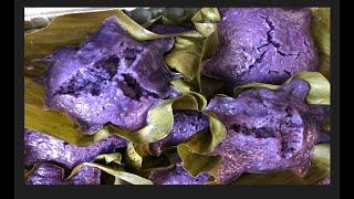 How To Make Ube rice puto in Banana leaves