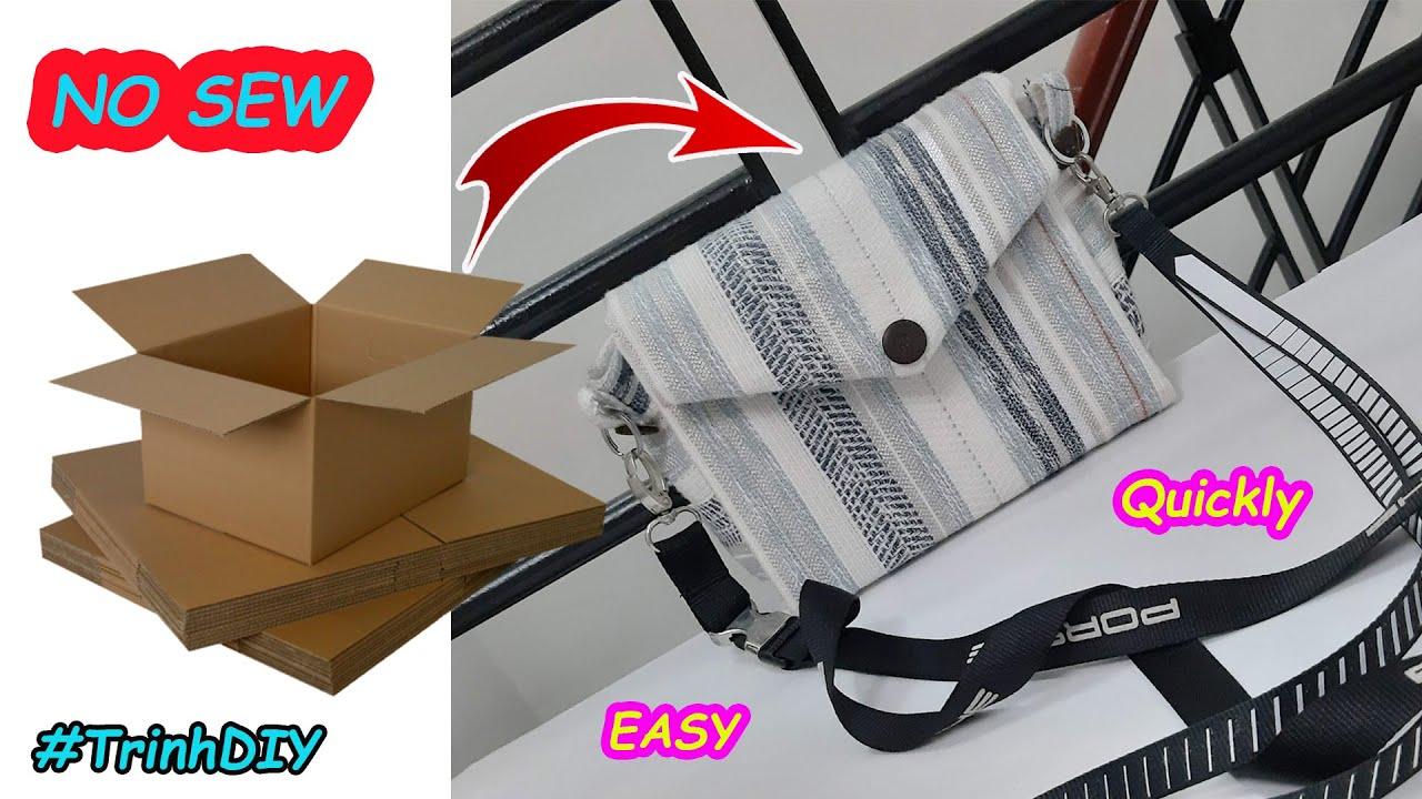 TÚI KHÔNG MAY #2 Làm Túi xách từ thùng giấy và đồ cũ đơn giản   Make a Purse Bag   NO SEW  Trinh DIY