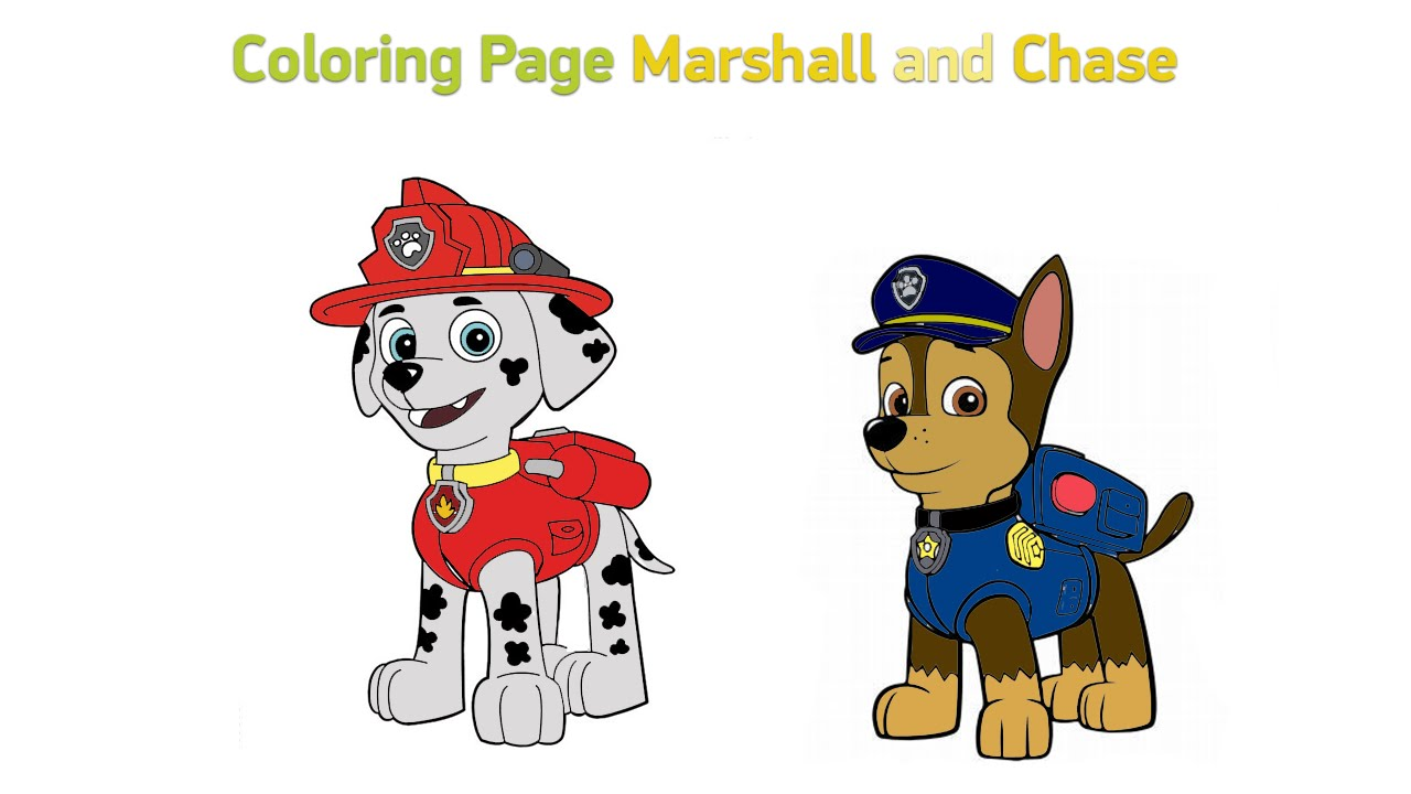 Coloring pages of chase from paw patrol - Coloring Pages For Kids Paw Patrol Marshall And Chase
