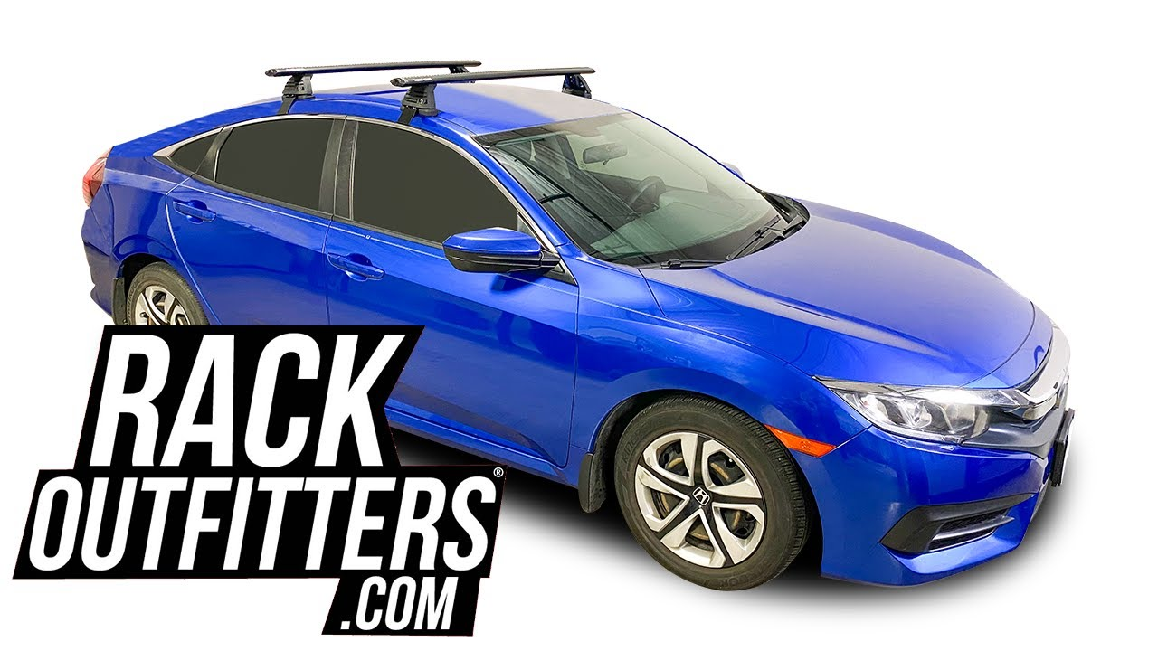 2016 2020 honda civic sedan with rhino rack roc25 vortex aero roof rack crossbars