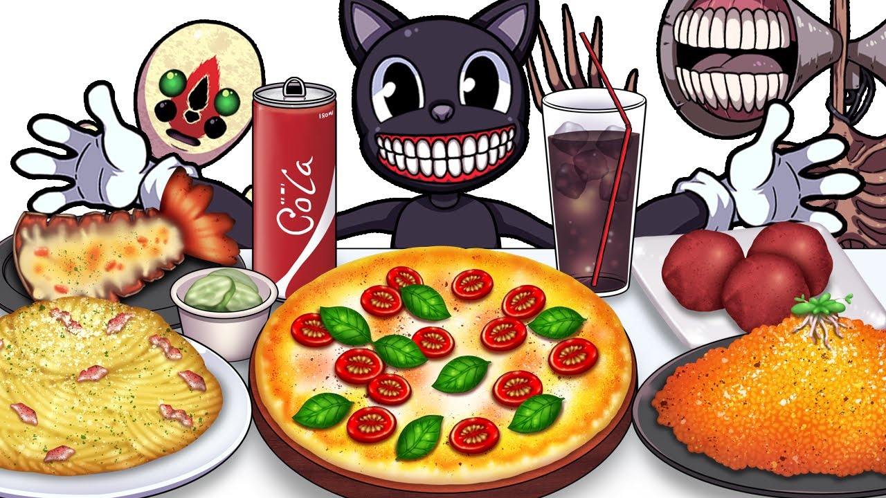 Mukbang Animation Basil pesto pizza food set eating Cartoon cat