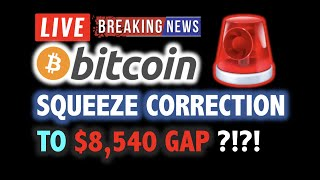 BITCOIN SQUEEZE CORRECTION TO $8,540 GAP ?!