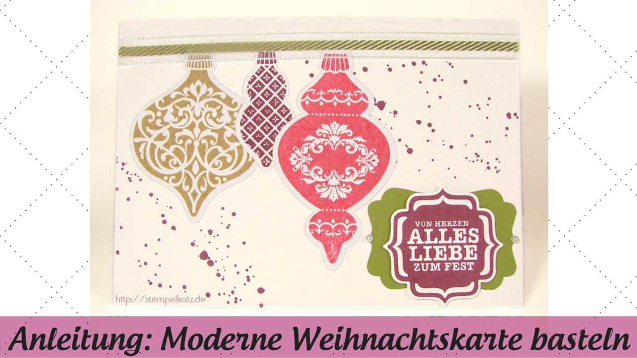 Moderne Weihnachtskarten Basteln.Moderne Weihnachtskarte Basteln Mit Stampin Up