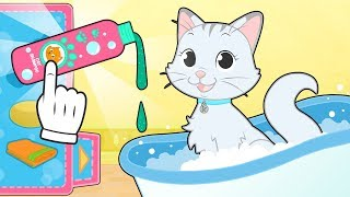 BABY PETS How to Bathe and Care for Kira the Cat 🐱 Educational Cartoons
