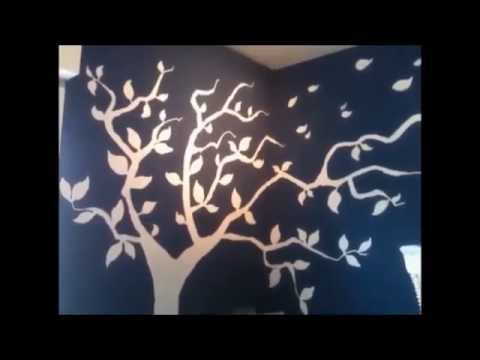como pintar un rbol en la pared youtube