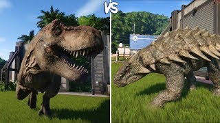Jurassic World Evolution - T-REX vs ANKYLOSAURUS -  Gameplay (PS4 HD) [1080p60FPS]
