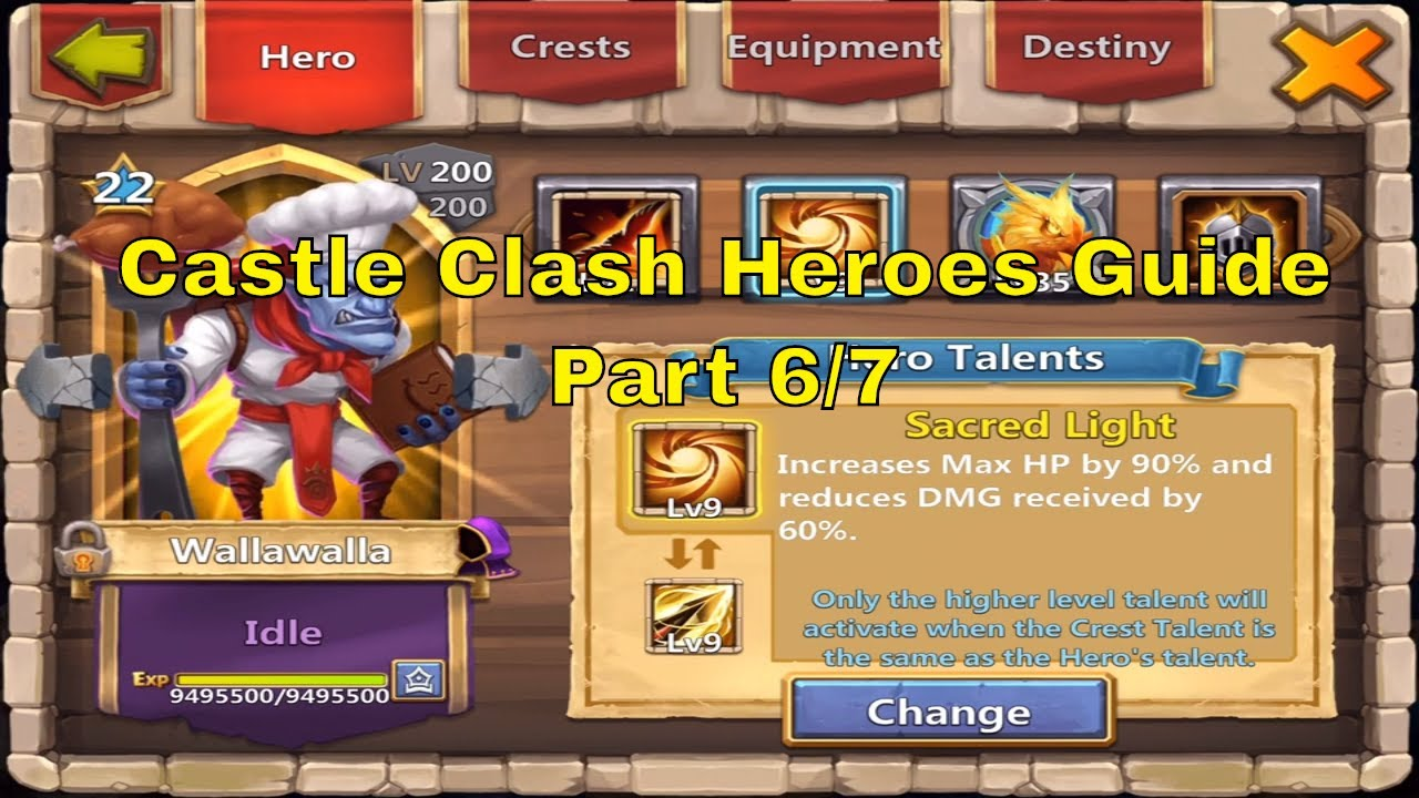 Castle Clash All Heroes Best Talents, Enchantments, Traits, Insignias, Pets  @ Million Might (6/7)