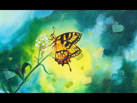 Butterfly and Bokeh effect Beginner Step by step acrylic painting tutorial