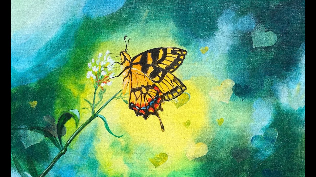 Butterfly And Bokeh Effect Beginner Step By Step Acrylic