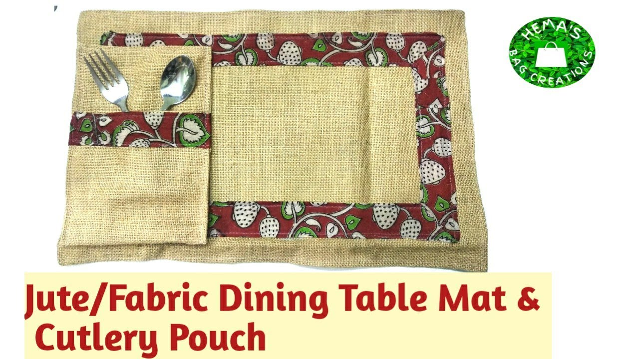 #Jute #Fabric Table Mats & Cutlery Pouch Sewing Tutorial/#Dining #TableMats Tutorial #placemats