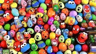 Repeat youtube video Huge 105 Huevos Sorpresa Pocoyo PeppaPig MonsterHigh Disney Frozen Play-Dough Cookie Monster Cars