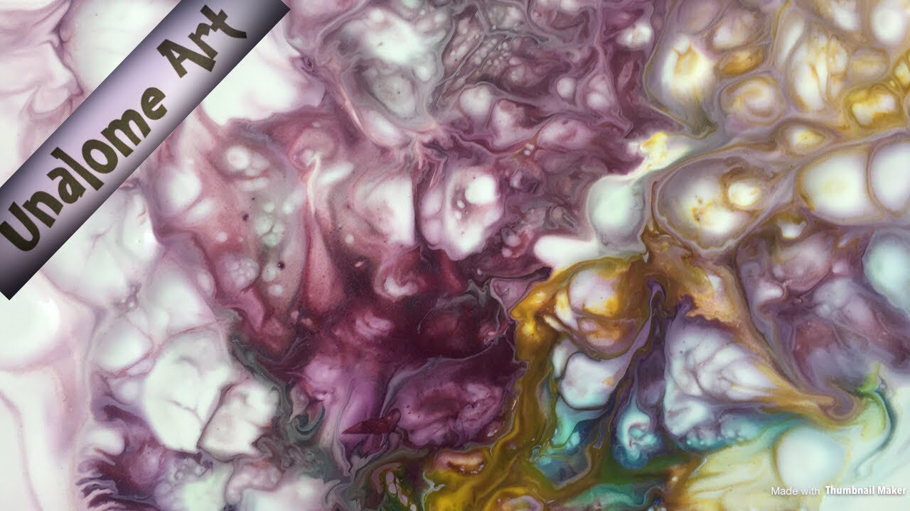 Acrylicpouring - 226 - hairdryer pour with the pigments of color arte