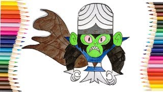 How to Colour mojo jojo | Powerpuff girls Bad Mojo jojo | Colouring pages for kids
