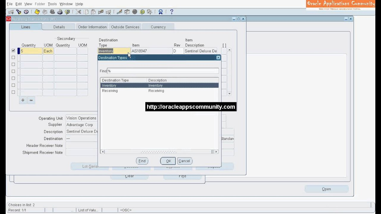 Purchase Order Receipt Delivery - Oracle Purchasing