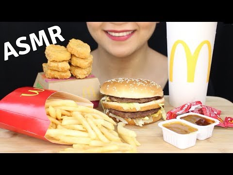 ASMR McDonald's BIG MAC, McNUGGETS and CHOCOLATE CHIP COOKIE Eating Sounds- NO TALKIN