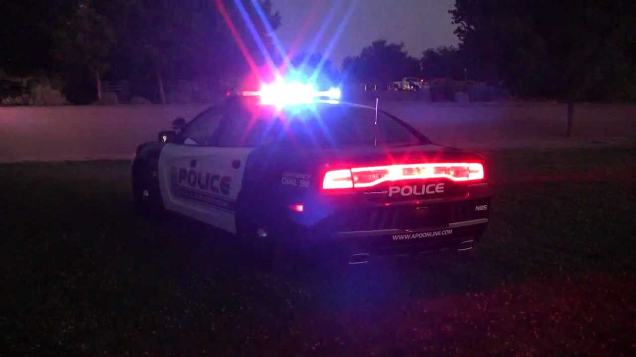 Code 3 Emergancy Lights On APD Black And White Dodge Charger Police Car    YouTube