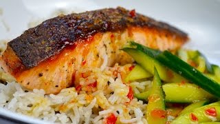 SIMPLE SWEET CHILLI SALMON & COCO RICE + Sileni Pinot Gris | NZ Wines Series | DUMPLING SISTERS