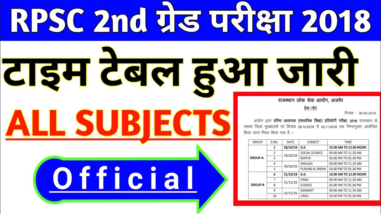 RPSC 2nd Grade Teacher 2018 ALL Subject Official Time Table