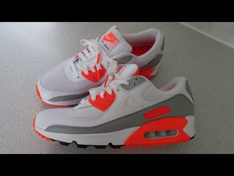 Nike Air Max 90 Hyper Orange 2020 Trainers Shoes Sneakers, Latest Nike, On Feet Review. CT4352-103.