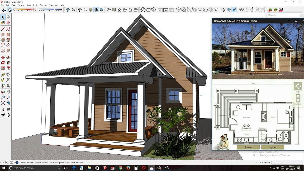Sketchup Modeling One Bedroom House Plan From Photo H01 ...
