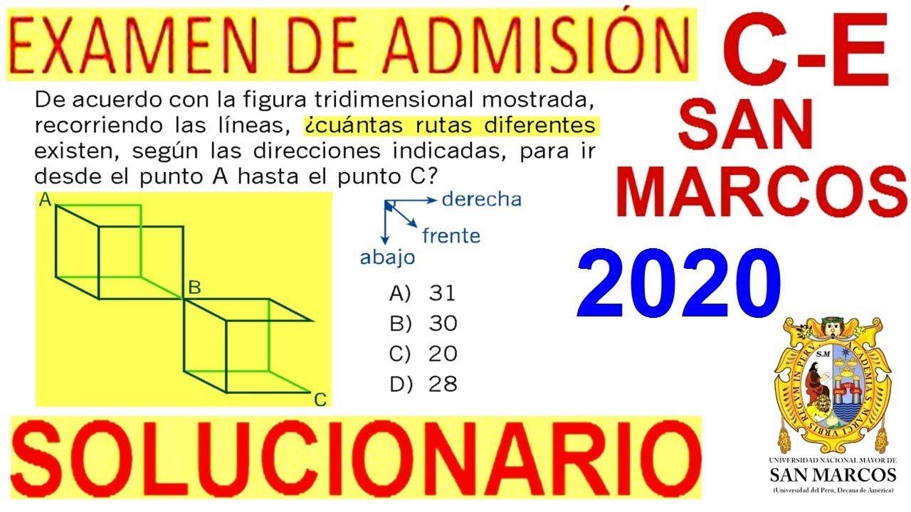 Solucionario San Marcos 2020 1 De Examen De Admision A La Universidad Prueba Deco Resuelta 2020 I Youtube