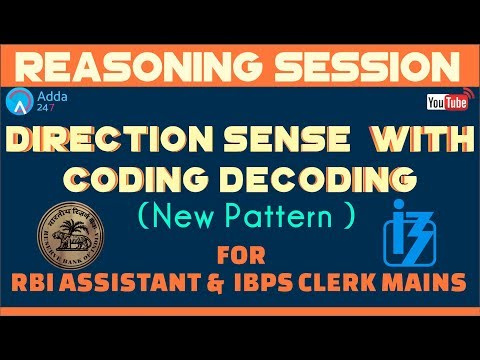 Direction Sense  with Coding Decoding (Latest Pattern) For RBI ASSISTANT &  IBPS CLERK MAINS