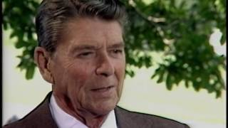 President Reagan during an Interview with Sam Donaldson Regarding Frank Reynolds on July 20, 1983