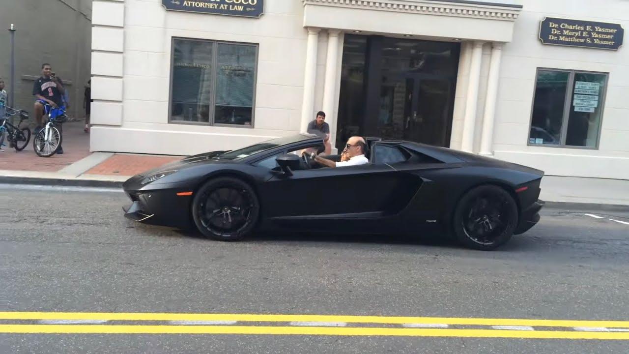 Matte Black Lamborghini Aventador Roadster At Autostrade Youtube