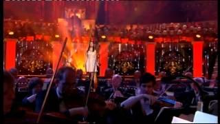 Singing live at a concert at the Royal Albert Hall.
