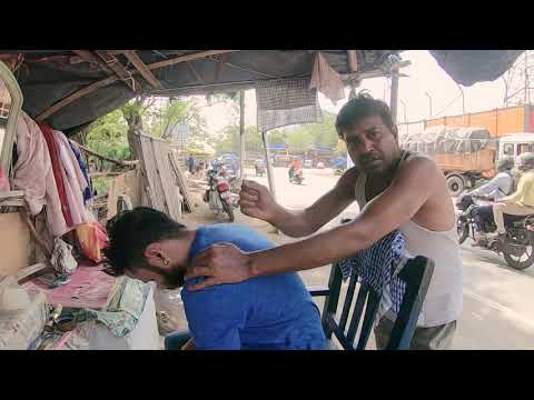 Street Barber Intense Head Massage With LOUD Neck Cracking | Indian Massage