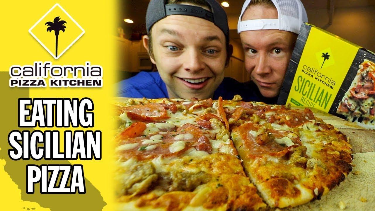 Eating California Pizza Kitchen's Sicilian Pizza - YouTube