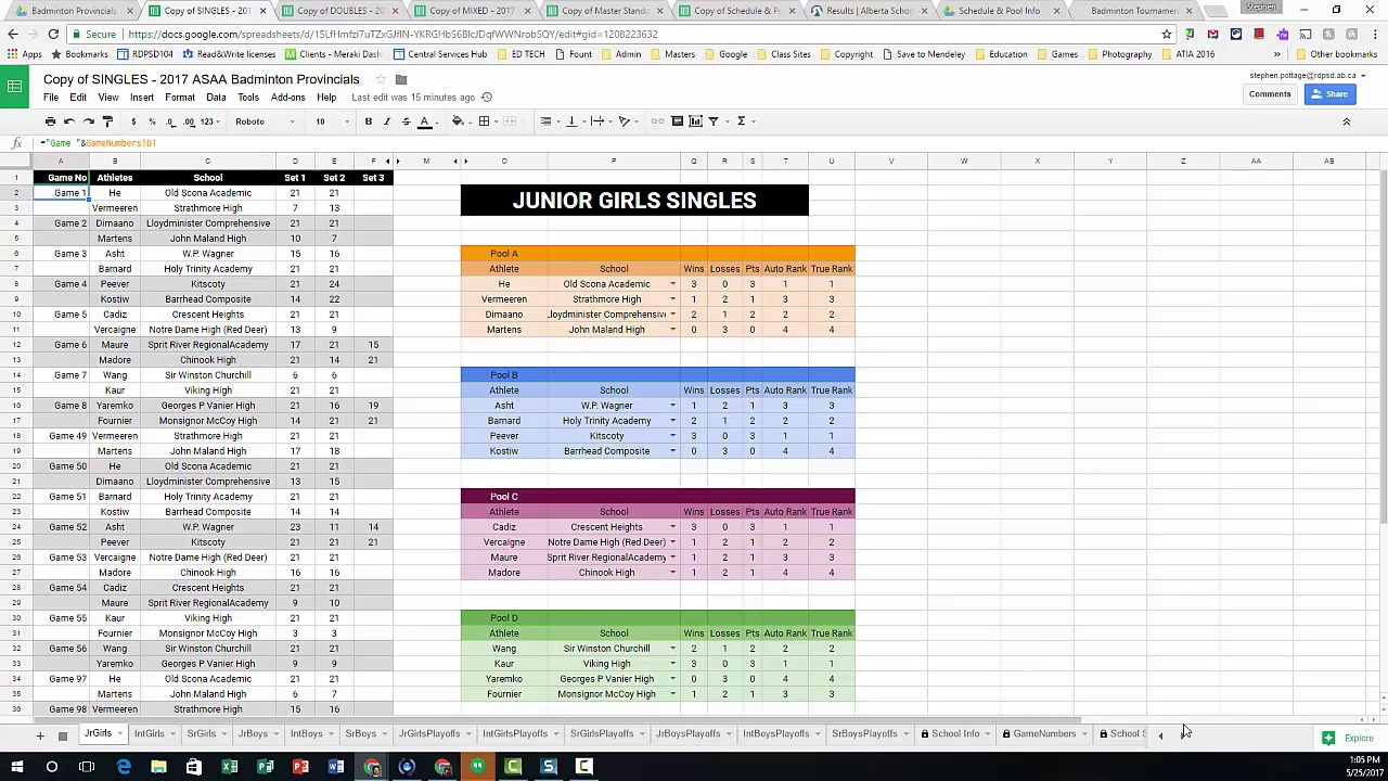 Using Google Sheets To Run A Provincial Badminton Tournament Youtube