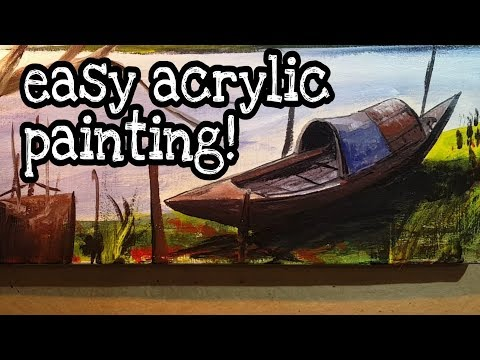 easy Acrylic Painting | how to draw Boat and river landscape