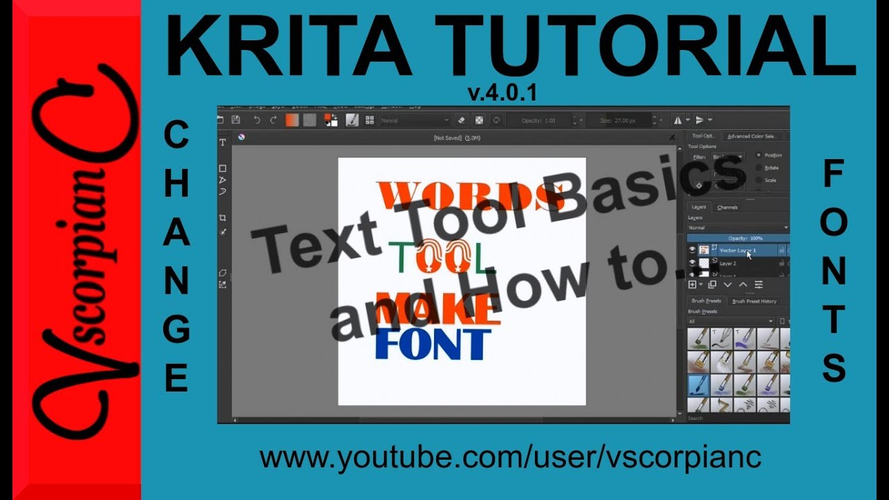 Krita Tutorial - How to Change Fonts in v4 0 1 & Basics of New Text Tool by  VscorpianC