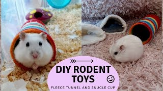 Diy toys for small pets (hamsters)! Fleece tunnel and snugle cup!