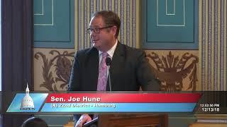 Sen. Hune delivers farewell speech to Michigan Senate