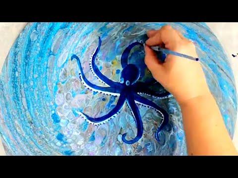 OCTOPUS - Embellishing an acrylic pour through a colander