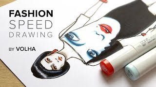Fashion Speed Drawing 4/Рисую Фэшн Иллюстрацию|девушки мода иллюстрации