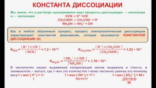 № 86. Неорганическая химия. Тема 10. Электролитическая диссоциация. Часть 7. Константа диссоциации