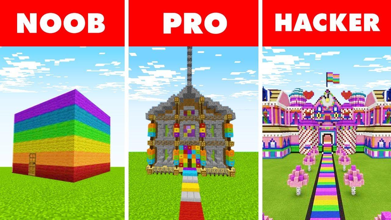 Minecraft NOOB vs. PRO vs. HACKER : RAINBOW HOUSE BUILD CHALLENGE in Minecraft!