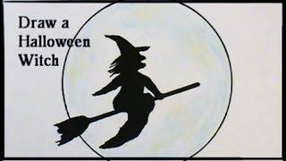 Halloweenies! Draw a SKANKY WITCH On Her BROOM!