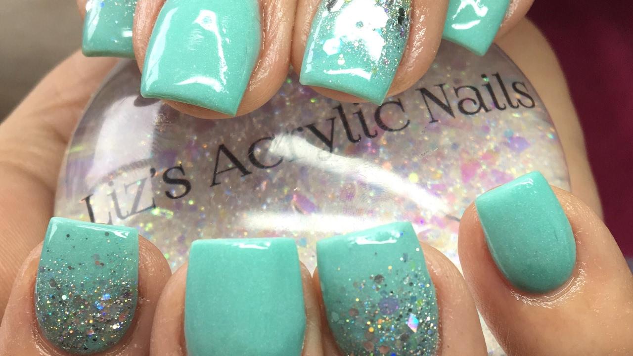 Acrylic Nails | Mint Green - YouTube