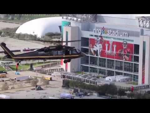 AMO Black Hawk conducts a flyover of NRG Stadium in advance of Super Bowl LI