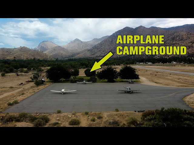 Airplane camping at Kern Valley, California with gusty winds!